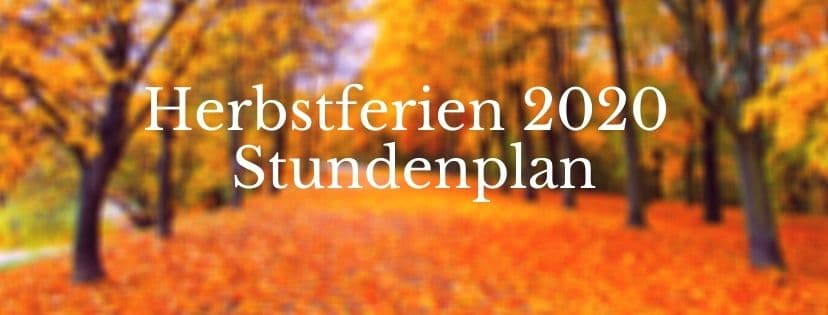 Herbstferien Stundenplan Inmotion Yoga & Pilates